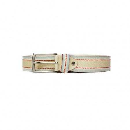 Belt with colored stitching