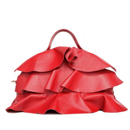 MARTINA Leather Handbag with Flounces