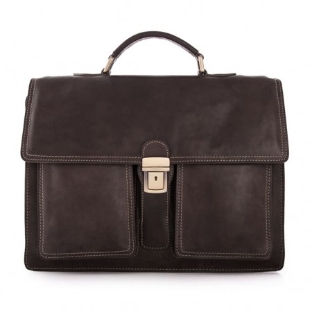 Mar1010 Leather Briefcase 3 Compartments