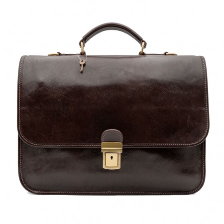Mar224 Leather Briefcase 2 Compartments