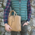 LUCKY Leaher Briefcase in Genuine Saffiano Leather